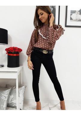 Hnedá bodkovaná košeľa s volánom pre dámy