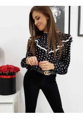 Dámska bodkovaná košeľa s volánom v čiernej farbe
