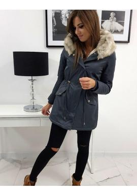Zimná dámska Parka sivej farby s kapucňou