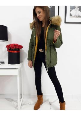 Obojstranná dámska bunda olivovej farby s kapucňou