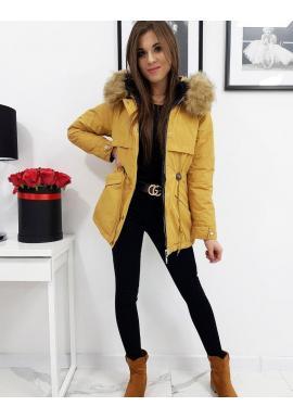 Dámska obojstranná bunda s kapucňou v žltej farbe