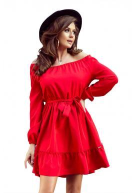 Dámske pohodlné šaty s volánmi v červenej farbe