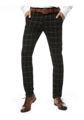 Kockované pánske nohavice čiernej farby