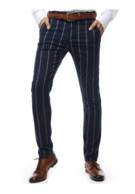 Pánske pásikavé nohavice v tmavomodrej farbe
