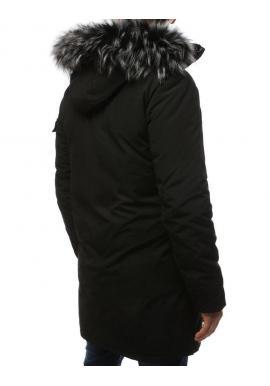 Čierna zimná bunda s kapucňou pre pánov
