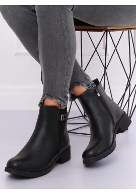 Dámske štýlové topánky na širokom opätku v čiernej farbe