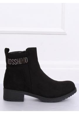 Semišové dámske topánky čiernej farby s ozdobou