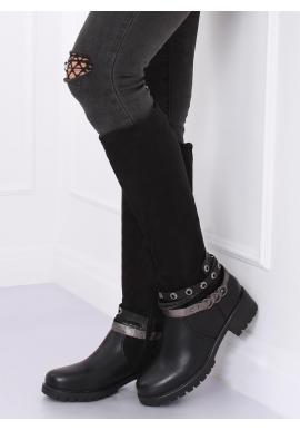 Dámske štýlové čižmy s doplnkami v čiernej farbe