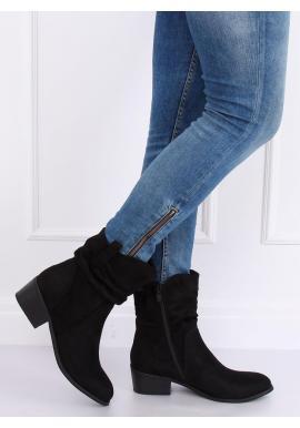 Čierne semišové čižmy s nariaseným zvrškom pre dámy