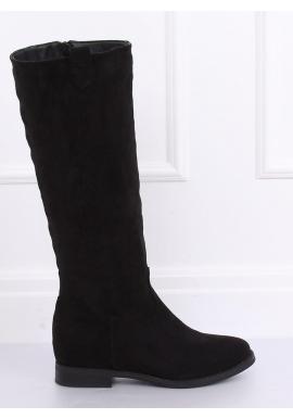 Semišové dámske čižmy čiernej farby na skrytom opätku
