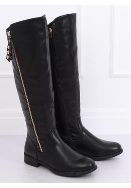 Módne dámske čižmy čiernej farby s ozdobným zlatým zipsom