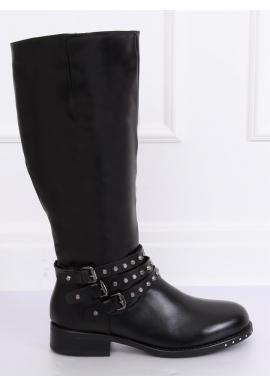 Dámske štýlové čižmy s vybíjaním v čiernej farbe