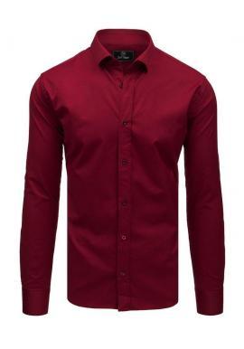 Pánska elegantná košeľa s dlhým rukávom v bordovej farbe