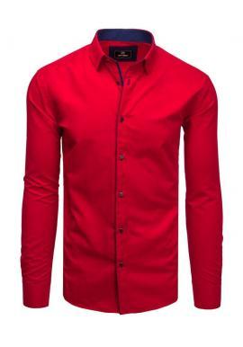 Pánska elegantná košeľa s dlhým rukávom v červenej farbe