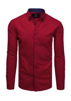 Bordová elegantná košeľa s dlhým rukávom pre pánov