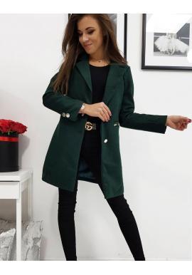 Tmavozelený jednoradový kabát na jar pre dámy