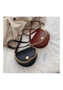 Hnedá módna kabelka so zlatou retiazkou pre dámy