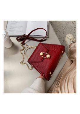 Dámska štýlová kabelka s motívom hadej kože v červenej farbe
