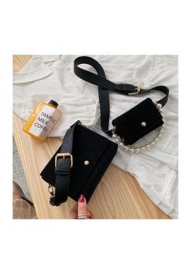 Čierna elegantná kabelka s kapsičkou pre dámy