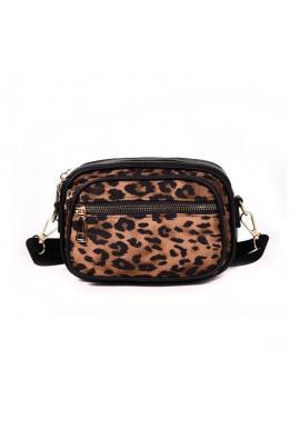 Hnedá štýlová kabelka s leopardím vzorom pre dámy