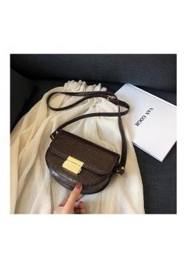 Dámska módna kabelka s motívom hadej kože v hnedej farbe
