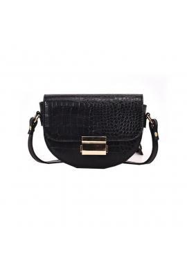 Čierna módna kabelka s motívom hadej kože pre dámy