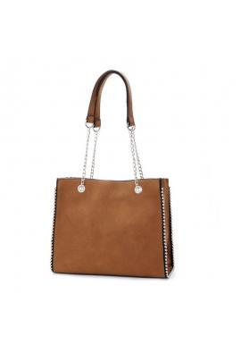 Dámska elegantná kabelka so striebornými guličkami v hnedej farbe