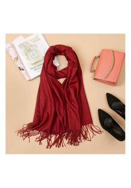 Bordový elegantný šál so strapcami pre dámy