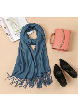 Modrý elegantný šál so strapcami pre dámy