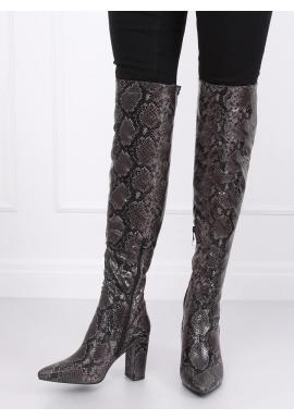 Dámske čižmy nad kolená s motívom hadej kože v čiernej farbe