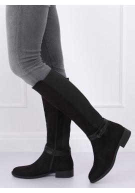 Čierne módne čižmy s ozdobnou prackou pre dámy