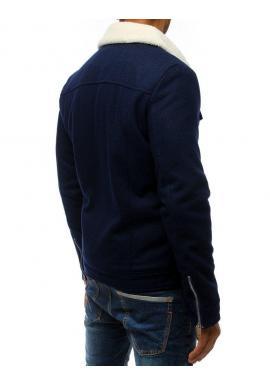 Pánske vlnené bundy s kožušinou v tmavomodrej farbe