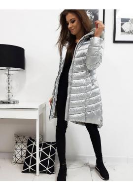 Strieborná prešívaná bunda na zimu pre dámy