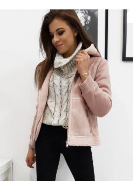 Zimná dámska bunda ružovej farby s kapucňou