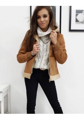 Dámska zimná bunda s kapucňou v hnedej farbe