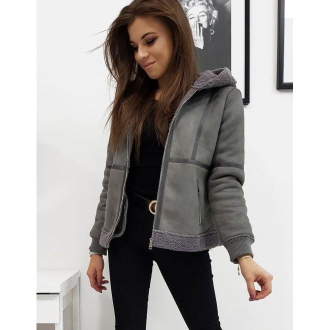 Tmavosivá zimná bunda s kapucňou pre dámy