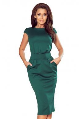Úzke dámske šaty s vyšším pásom v zelenej farbe