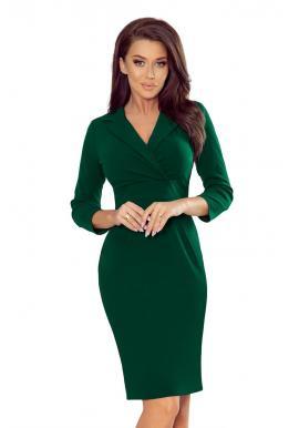 Zelené elegantné šaty s výstrihom pre dámy