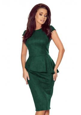 Dámske semišové šaty s asymetrickým volánom v zelenej farbe
