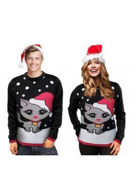 Vianočný pánsky sveter čiernej farby s motívom mačky