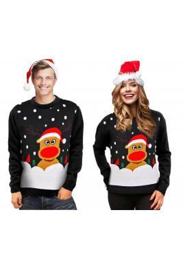 Pánsky vianočný sveter s motívom soba v čiernej farbe