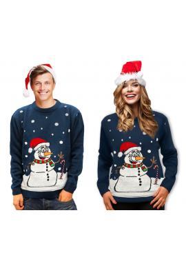 Tmavomodrý vianočný sveter s motívom snehuliaka pre pánov