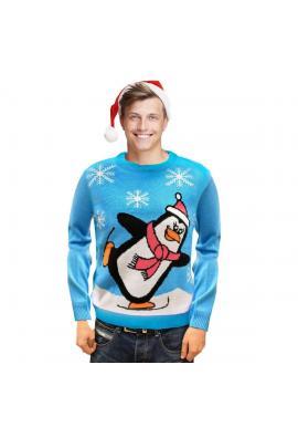 Vianočný pánsky sveter svetlomodrej farby s motívom tučniaka