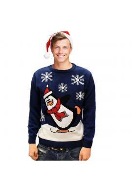Pánsky vianočný sveter s motívom tučniaka v tmavomodrej farbe