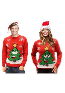 Červený vianočný sveter s motívom vianočného stromčeka pre pánov