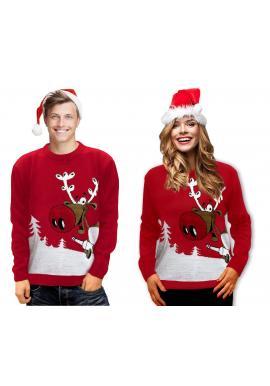 Pánsky vianočný sveter s motívom soba v červenej farbe
