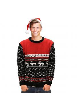 Čierno-červený vianočný sveter so zimným motívom pre pánov