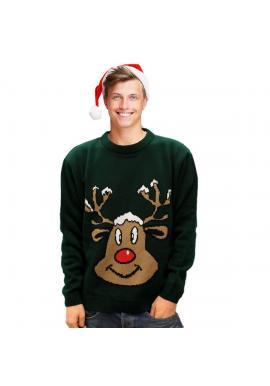 Vianočný pánsky sveter zelenej farby s motívom soba