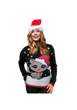 Vianočný dámsky sveter čiernej farby s motívom mačky