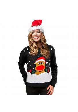Dámsky vianočný sveter s motívom soba v čiernej farbe